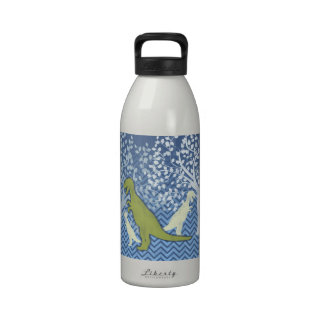 Green Dinosaur on Zigzag Chevron - Blue and White Reusable Water Bottle