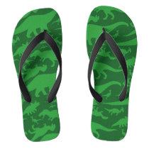Green Dinosaur Pattern Flip Flops
