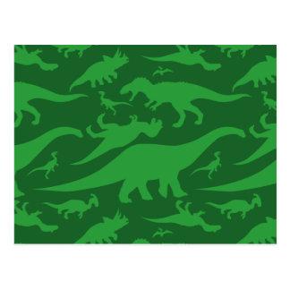 Green Dinosaur Pattern Postcard