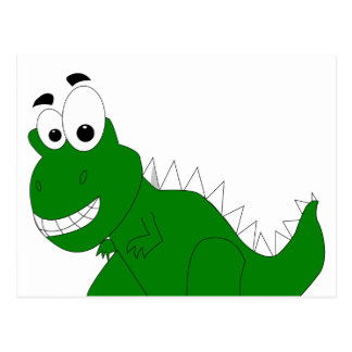green dinosaur postcard