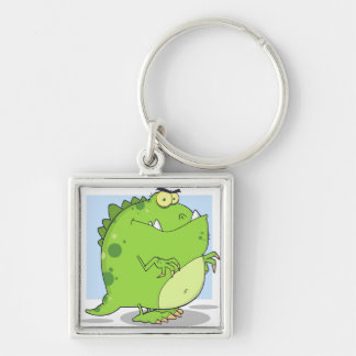 Green Dinosaur Silver-Colored Square Keychain