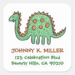 Green Dinosaur, Square Address Labels Sticker