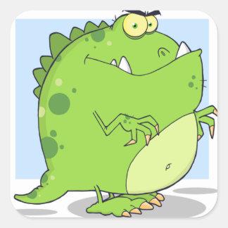Green Dinosaur Square Sticker
