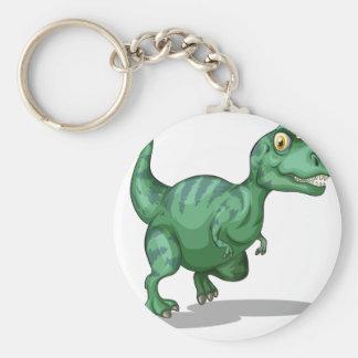 Green dinosaur standing alone on white basic round button keychain