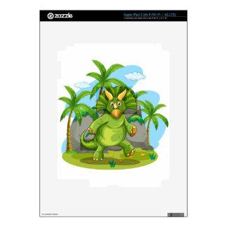 Green dinosaur standing on two feet iPad 3 decals