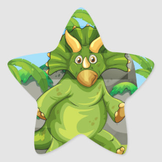 Green dinosaur standing on two feet star sticker