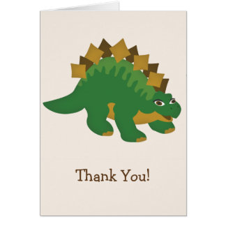 Green Dinosaur, Stegosaurus Thank You Card