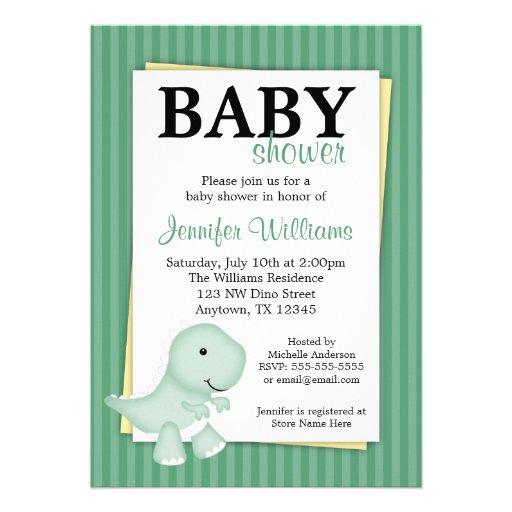 Green Dinosaur Stripes Baby Shower Invitations
