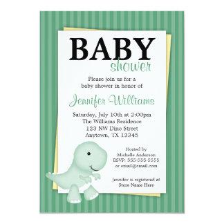 "Green Dinosaur Stripes Baby Shower Invitations 5"" X 7"" Invitation Card"