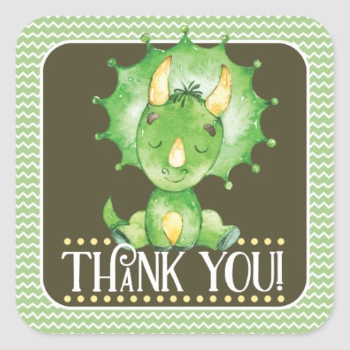 Green Dinosaur Thank You Sticker