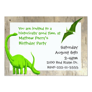 "Green Dinosaurs Birthday Invitation 5"" X 7"" Invitation Card"