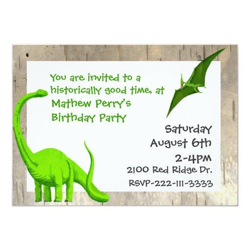 Green Dinosaurs Birthday Invitation