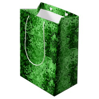 Green Disco Glitter And Sparkles Medium Gift Bag