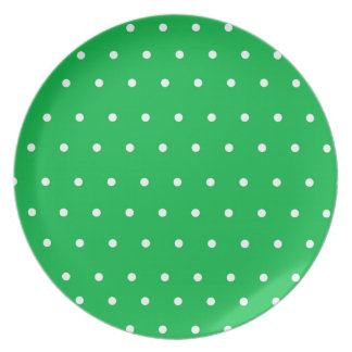 Green Display Plate with white polka dots