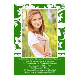 Green Distinction Photo Birthday Invitation