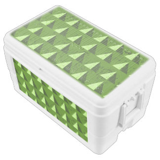 Green Distressed Geometric Pattern Cooler