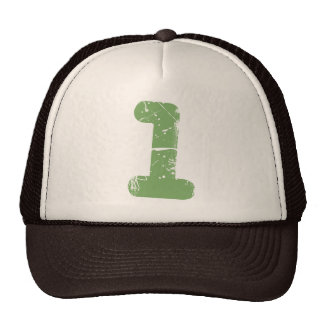 Green Distressed Number One Trucker Hat