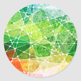 Green Distressed Rainbow Watercolor Abstract Classic Round Sticker