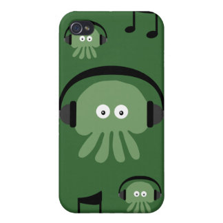 Green DJ Jellyfish & Musical Notes Customizable Cover For iPhone 4