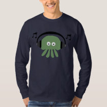 Green DJ Jellyfish & Musical Notes Customizable T-Shirt