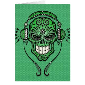 Green DJ Sugar Skull Greeting Cards