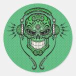Green DJ Sugar Skull Classic Round Sticker