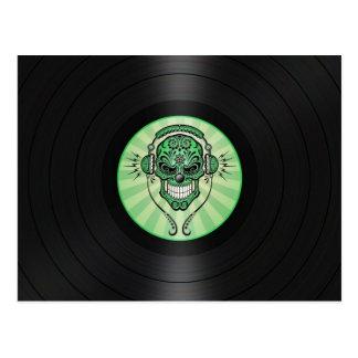 Green Dj Sugar Skull on Vinyl Record Graphic Postcard