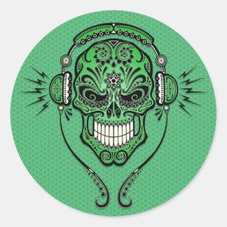 Green DJ Sugar Skull Round Stickers