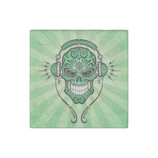 Green DJ Sugar Skull with Rays of Light Stone Magnet