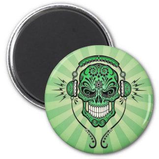 Green DJ Sugar Skull with Rays of Light Magnet