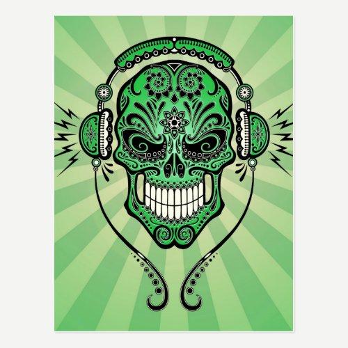 Green DJ Sugar Skull with Rays of Light Postcard