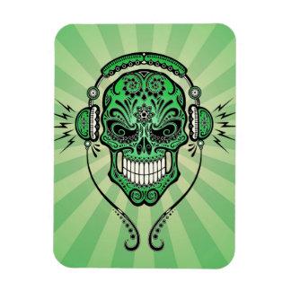 Green DJ Sugar Skull with Rays of Light Flexible Magnet