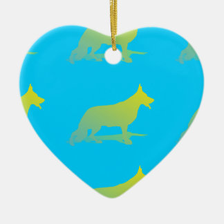 Green Dog Ceramic Ornament