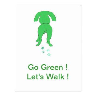 Green Dog Ears Down Postcard
