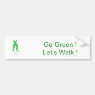 Green Dog Ears Up Let's Walk Bumper Sticker