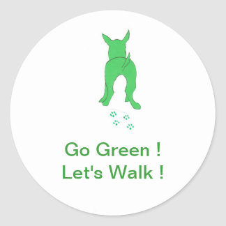 Green Dog Ears Up Let's Walk Classic Round Sticker