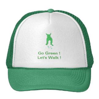 Green Dog Ears Up Let's Walk Trucker Hat