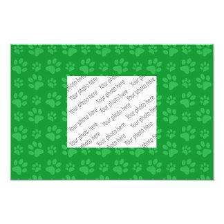 Green dog paw print pattern photo print