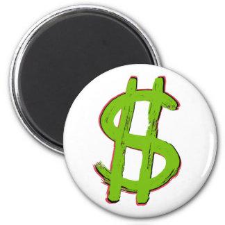 Green Dollar Sign 2 Inch Round Magnet