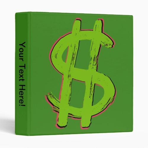Green Dollar Sign 3 Ring Binder