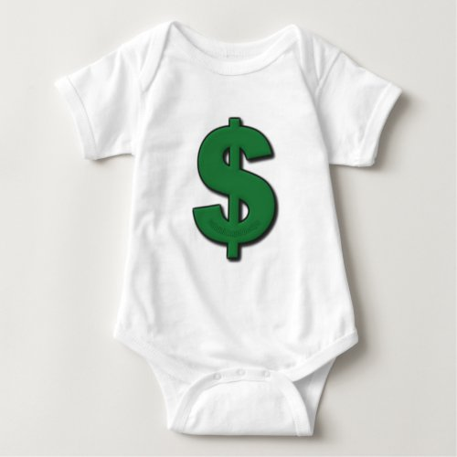 Green Dollar Sign Baby Bodysuit