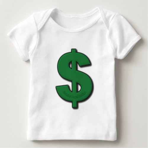 Green Dollar Sign Baby T_Shirt