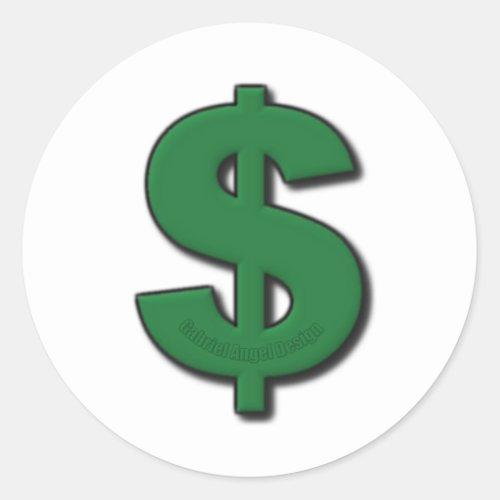 Green Dollar Sign Classic Round Sticker