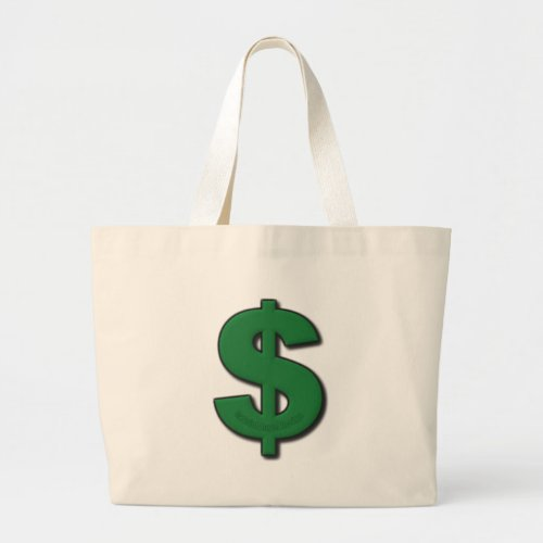 Green Dollar Sign Large Tote Bag