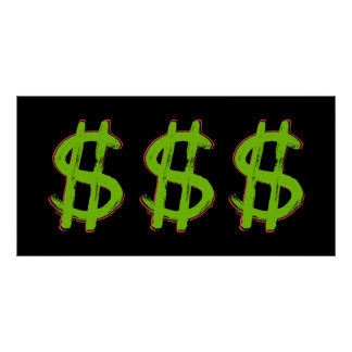 Green Dollar Sign Poster