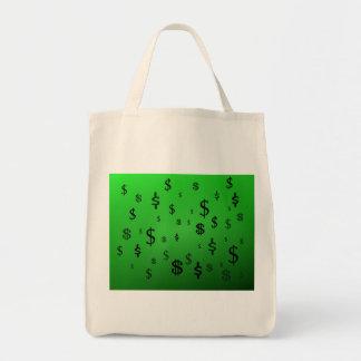 Green Dollar Sign Print Tote Bag