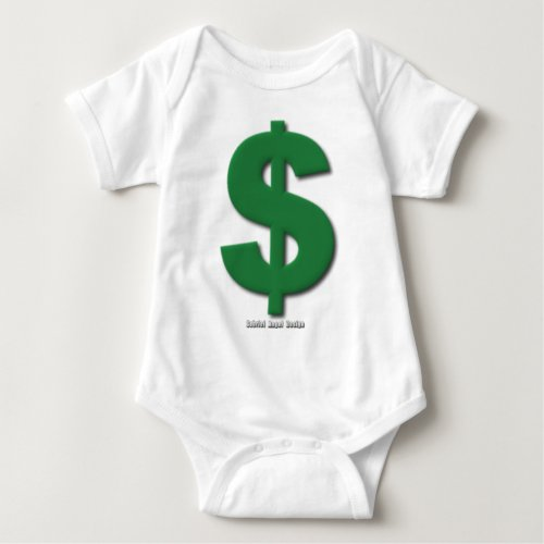 Green Dollar Sign with Beveled Style Baby Bodysuit