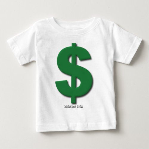 Green Dollar Sign with Beveled Style Baby T_Shirt
