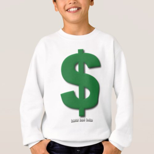 Green Dollar Sign with Beveled Style Sweatshirt