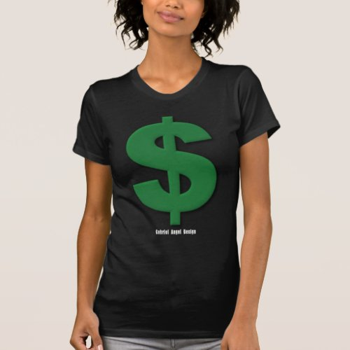 Green Dollar Sign with Beveled Style T_Shirt